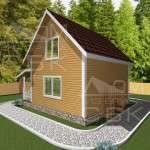 Проект дома из бруса 6 х 8 м «Борисово» - фасад 3