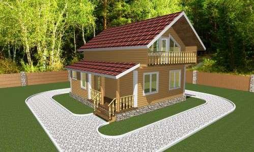 Проект дома из бруса 7,5 х 8 м «Березово»
