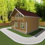Проект дома из бруса 7,5 х 8 м «Березово» - фасад 2