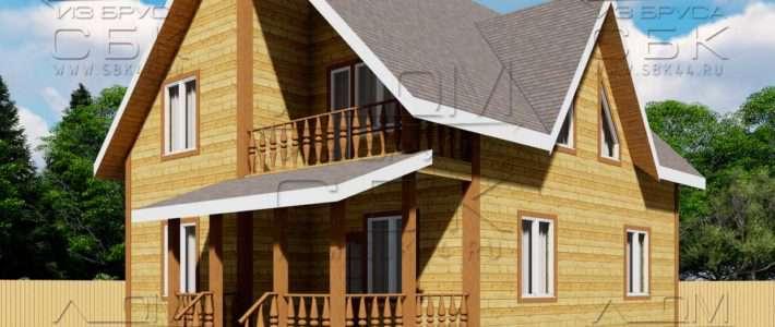 Проект дома из бруса 10 на 8 м «Княжево»