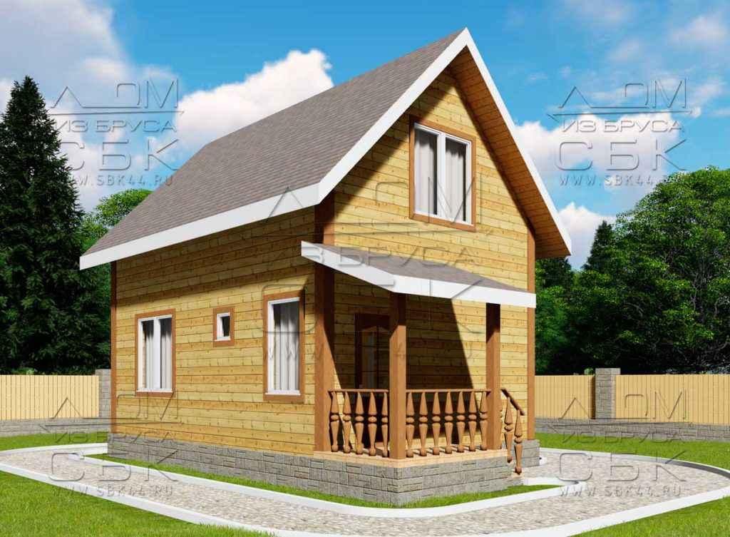 Проект дома из бруса 7 х 5 м «Гольцово» - фасад 1