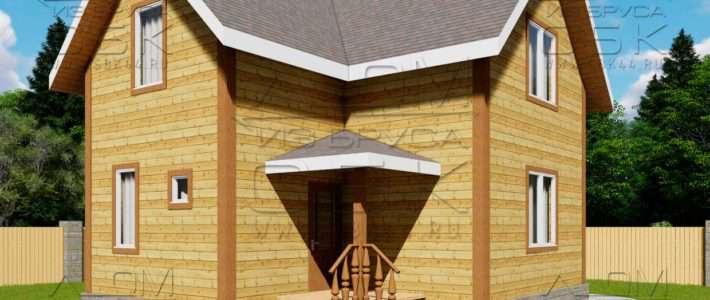 Проект дома из бруса 7 х 8 м «Гущино»
