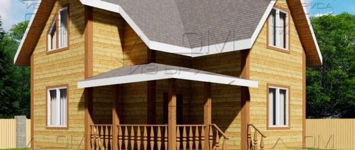 Проект дома из бруса 8 на 7,5 м «Заболотье»