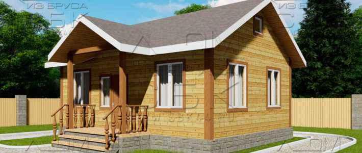 Проект дома из бруса 6 на 8 м «Песочное»