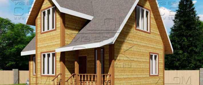 Проект дома из бруса с эркером 7 х 9 м «Гальяново»