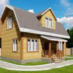 Проект дома из бруса 6 х 9 м «Бахарево» - фасад 1