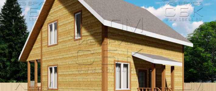 Проект дома из бруса 7,5 х 8 м «Лесничий»