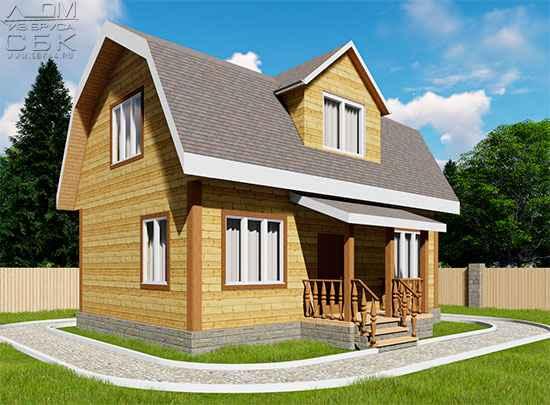 Проект дома из бруса 6 х 9 м «Бахарево»