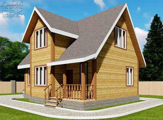 Дом из бруса 7 х 9 м «Гальяново»