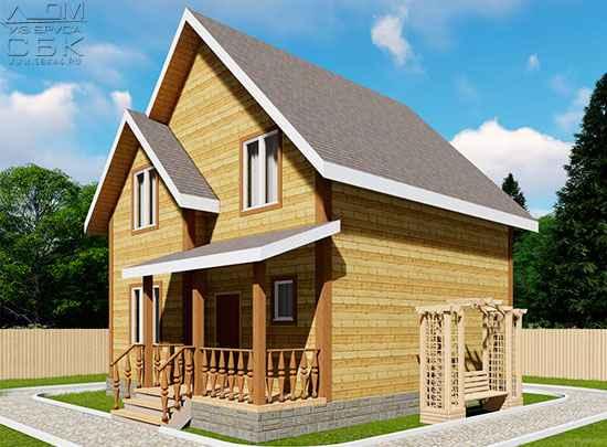 Проект дома из бруса 7,5 х 7,5 м «Изумруд»