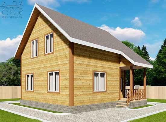 Проект дома из бруса 7,5 х 8 м «Лесничий» - фасад 3
