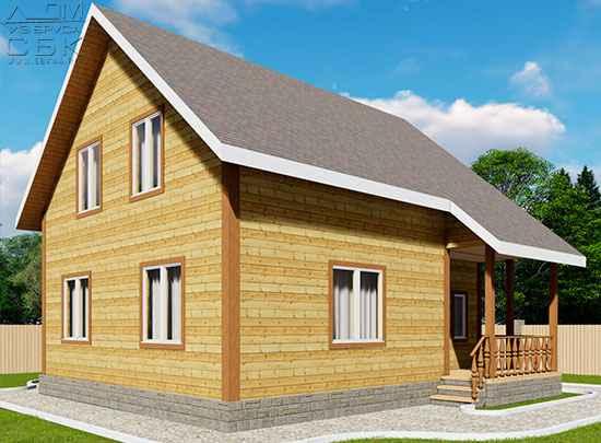 проект дома из бруса 8 на 9 м «Твистово»