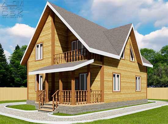 Проект дома из бруса 10 х 8 м «Княжево»