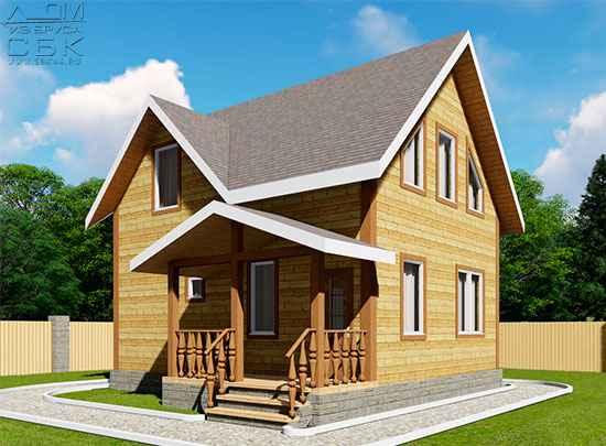 Проект дома из бруса 6 на 7,5 м «Лукино»