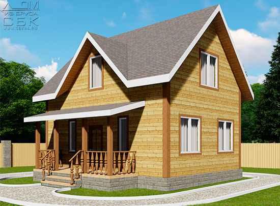 Проект дома из бруса 6 х 8 м «Бородино»