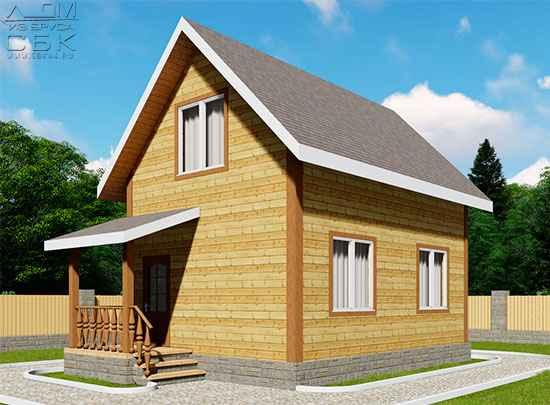 Проект дома из бруса 7 х 5 м «Гольцово»