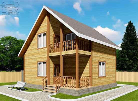 Проект дома из бруса 7,5 х 8 м «Васильевское»