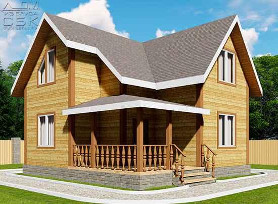 Проект дома из бруса 7,5 х 8 м «Заболотье»