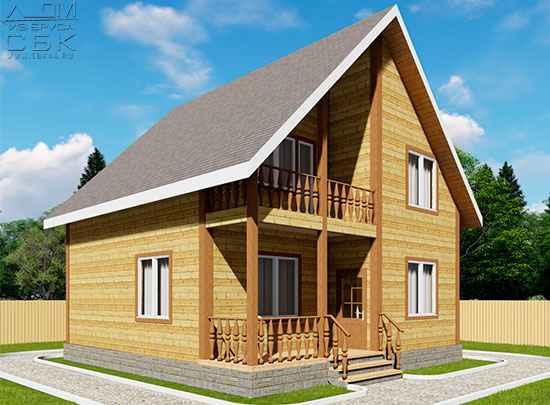 Проект дома из бруса 8,5 х 8 м «Есипово»
