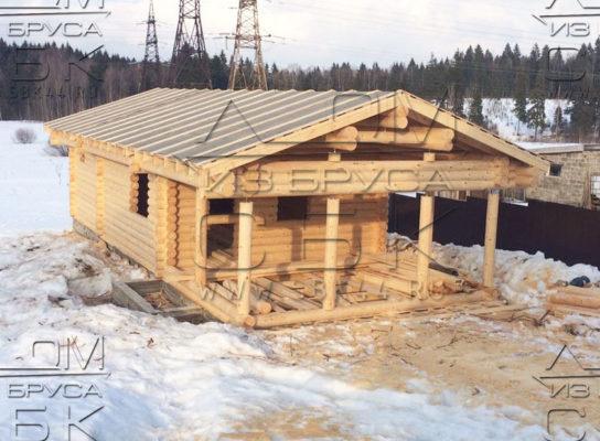 Проект двухэтажной бани из оцилиндрованного бревна 6 х 13