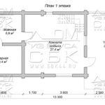 Проект двухэтажной бани с террасой из оцилиндрованного бревна 6 х 13 план 1го этажа