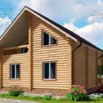 Проект двухэтажного дома с двумя балконами из оцилиндрованного бревна 8 х 8 м - 3
