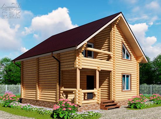 Проект двухэтажного дома с двумя балконами из оцилиндрованного бревна 8 х 8 м - мини