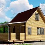Проект брусового дома с террасой 6 х 6 (9) «Дугино» 1