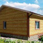 Проект одноэтажного дома из бруса 12 х 12 м «Мирный» - фасад 4
