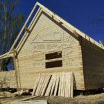 Дом из профилированного бруса 6 х 9 с просторной террасой - выставление стропильной системы