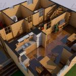 Проект дома из бруса 9 х 8 м в полтора этажа «Владимир» - планировка 1 эт