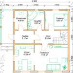 Проект дома из бруса 9 х 8 м в полтора этажа «Владимир» - план 1 эт