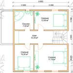 Проект дома из бруса 9 х 8 м в полтора этажа «Владимир» - план 2 эт