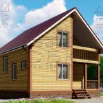 Проект полутораэтажного дома из бруса 8,5 х 8,5 «Эко-Градный» - фасад 4