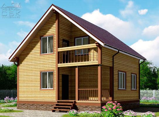 Проект полутораэтажного дома из бруса 8,5 х 8,5 «Эко-Градный»