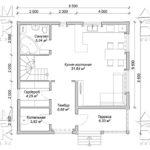 Проект полутораэтажного дома из бруса 8,5 х 8,5 «Эко-Градный» - план 1-го этажа