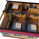 Проект полутораэтажного дома из бруса 8,5 х 8,5 «Эко-Градный» - планировка визуализация 2эт
