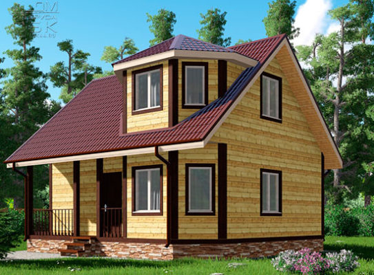 Проект дома из бруса 7 х 8 «Тучково»