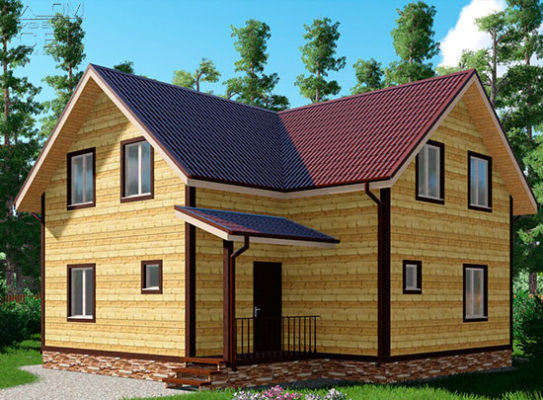 Проект дома из бруса 9 х 9 «Дубровки»