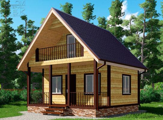 Проект дома из бруса 6 х 6 «Малино»