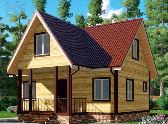 Проект дома из бруса 8 х 8 «Внуково»