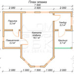 План проекта бани из бруса 6 x 7,5 Шилово