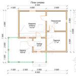 План проекта бани из бруса 6 x 8,5 Яшкино