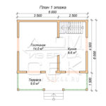 План проекта первого этажа дома 6 х 6 Княжево
