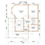 План проекта первого этажа дома 9 х10 Ермолино
