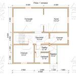 План проекта первого этажа дома 9 х 9 Дубровки