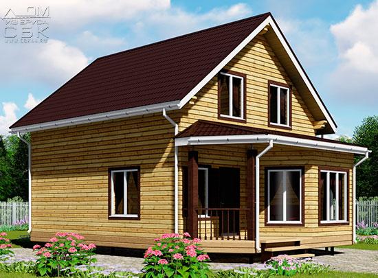 Проект дома из бруса 10 х 7 с эркером «Чернопенье»