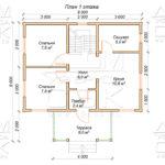 Проект первого этажа дома 8 х 8 Внуково