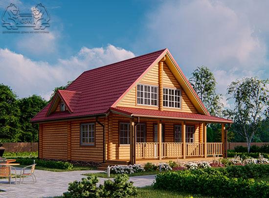 Проект дом из бруса в чашу 8 х 8 м «Залесский» - с мансардой и террасой (обложка)