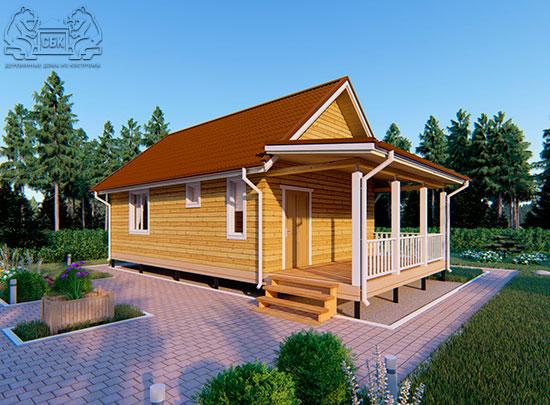 Проект одноэтажного дома из бруса 6 х 9 м «Смирновка» - с террасой обложка
